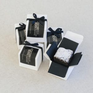 Belgian chocolate brownies gift box favour