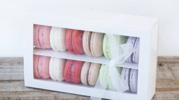 macaron gift box pinks and purples and green