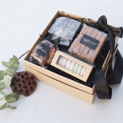 belgian chocolate brownies, macroon and biscotti macarons rocky road gift hamper