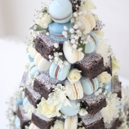 macaron-wedding cake-french macaron tower-chocolate-brownies