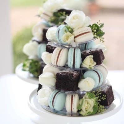 french macaron chocolate brownie tower