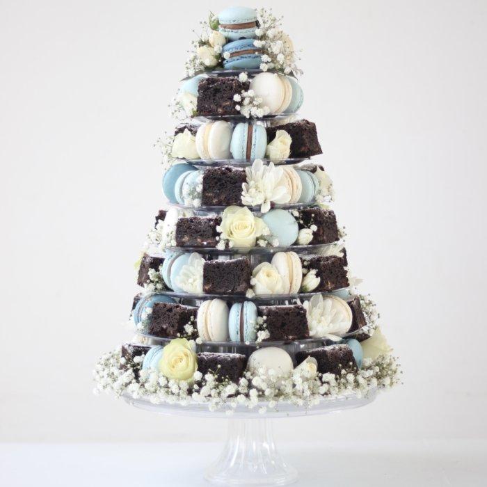 French Macaron & Chocolate Brownie Tower
