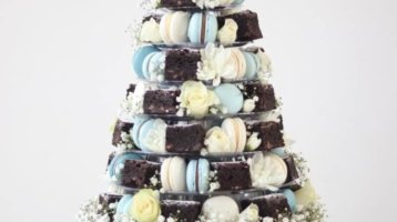 French Macaron & Chocolate Brownie Tower