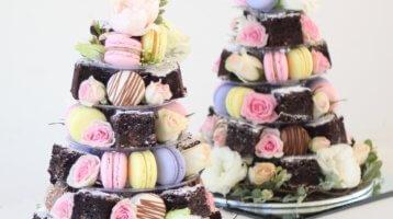 french macarons, macarons, chocolate, brownies, weddings, cake towers